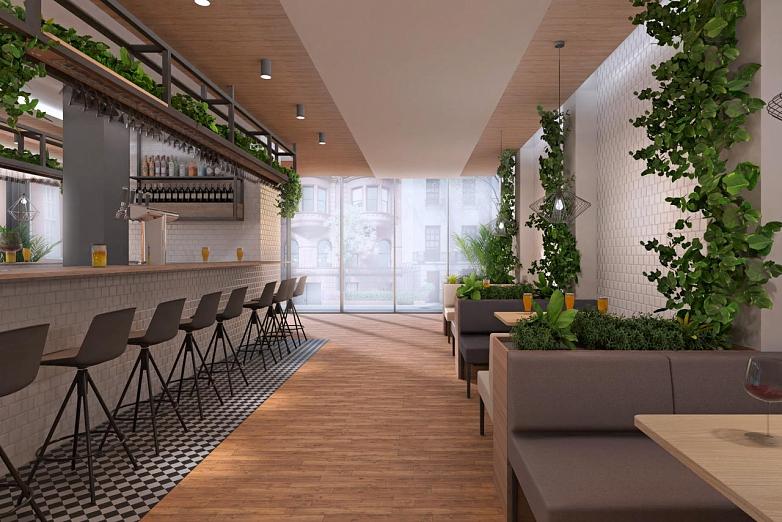 Zelené steny v priestoroch coffice na vizualizácií