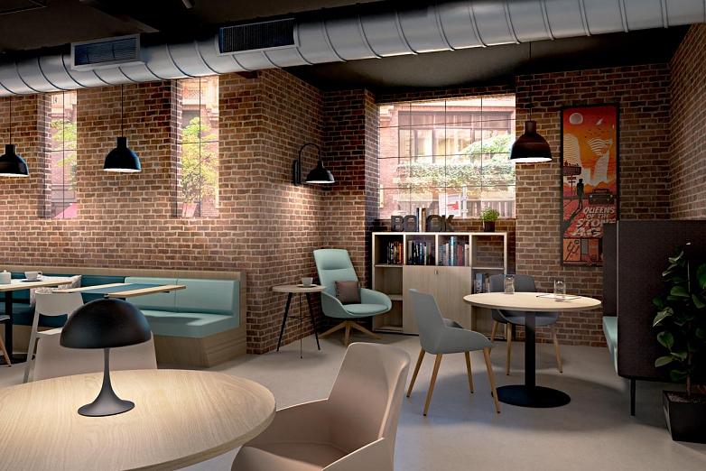 Útulná kaviareň s tehlovou stenou a kreslom Noom a stoličkami Actiu