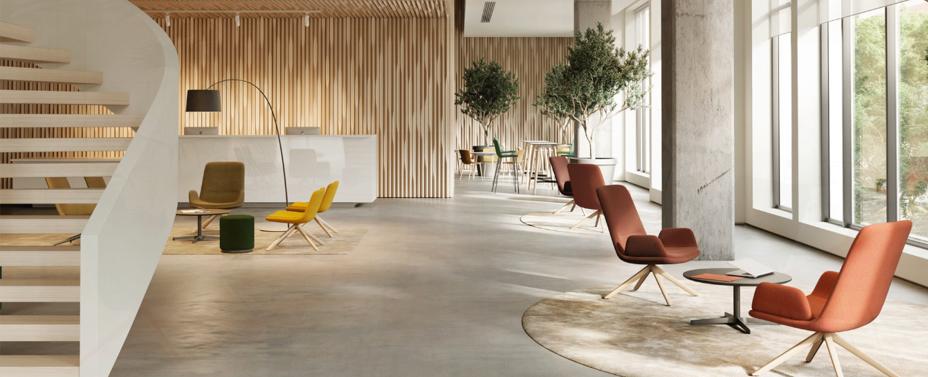 recepcia s liatym betonom a kreslami glove lounge od forma 5
