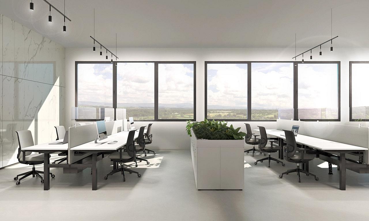 vizualizacia modernej kancelarie s ochrannym krytom proti korona virusu