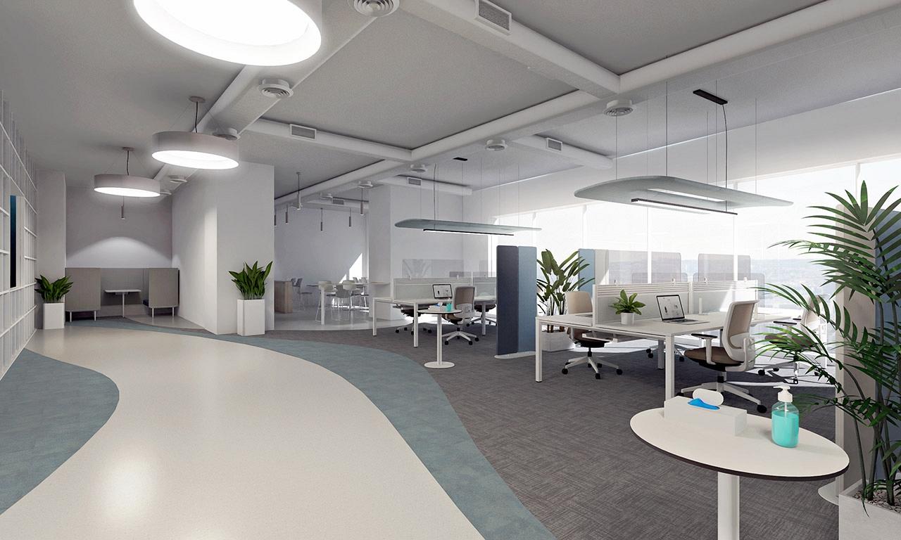 svetly open office na vizualizacii s ochrannymi krycimi panelmi