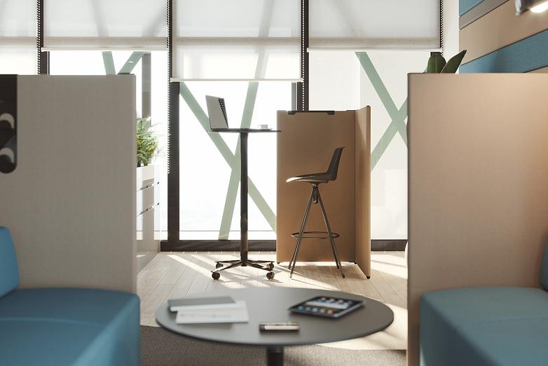 vysoka stolicka a vysoky mobilny stol na kolieskach v kancelarii