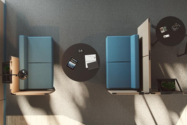 akusticka koja longo od actiu v modrej s akustickymi panelmi